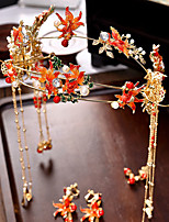 Недорогие -Жен. Красный Старинный Комплект ювелирных изделий - Гипсофила Этнический Включают Шпильки для волос Красный Назначение Свадьба Для вечеринок