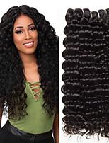Недорогие -3 Связки Глубокий курчавый Натуральные волосы Необработанные натуральные волосы Человека ткет Волосы Удлинитель Пучок волос 8-28 дюймовый Естественный цвет Ткет человеческих волос