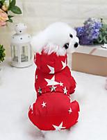 baratos -Cachorros / Gatos Casacos Roupas para Cães Estrelas Azul Escuro / Fúcsia / Vermelho Algodão Ocasiões Especiais Para animais de estimação Unisexo Mantenha Quente / Na moda
