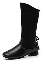 Недорогие -Девочки Обувь Синтетика Зима сутулятся сапоги Ботинки для Дети / Для подростков Черный / Коричневый / Красный / Сапоги до середины икры