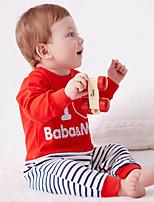 Недорогие -малыш Мальчики Классический Однотонный Длинный рукав Хлопок / Полиэстер 1 предмет Красный 59