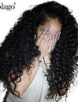 billiga -Äkta hår Spetsfront Peruk Brasilianskt hår Deep Curly Peruk Deep Parting Sidodel 250% Hårtäthet med babyhår Gåva Heta Försäljning Bekväm Naturlig Dam Lång Äkta peruker med hätta Dolago