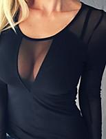 abordables -t-shirt skinny pour femme - col en v uni