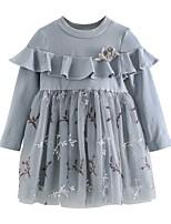 baratos -Infantil / Bébé Para Meninas Sólido Manga Longa Vestido