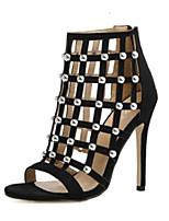 Недорогие -Жен. Полиуретан Лето Обувь на каблуках На шпильке Черный / Миндальный