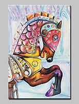 baratos -Pintura a Óleo Pintados à mão - Abstrato / Arte Pop Modern Incluir moldura interna / Lona esticada