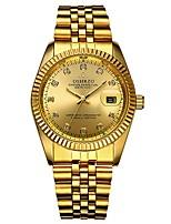 baratos -Homens Relógio de Pulso Quartzo Cronógrafo Novo Design Luminoso Aço Inoxidável Banda Analógico Luxo Elegante Dourada - Dourado Branco Preto Um ano Ciclo de Vida da Bateria