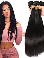 Недорогие -3 Связки Бразильские волосы Индийские волосы Прямой 8A Натуральные волосы Необработанные натуральные волосы Подарки Косплей Костюмы Головные уборы 8-28 дюймовый Естественный цвет