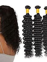 Недорогие -3 Связки Бразильские волосы Малазийские волосы Крупные кудри 8A Натуральные волосы Необработанные натуральные волосы Подарки Косплей Костюмы Головные уборы 8-28 дюймовый Естественный цвет