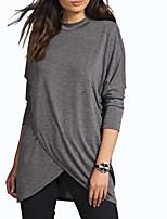 Недорогие -женская хлопковая свободная футболка - сплошная цветная водолазка