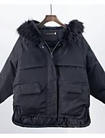 billiga -Dam Dagligen Grundläggande Enfärgad Normal Dun, Polyester Långärmad Huva Rodnande Rosa / Beige / Grå M / L / XL / Ledig