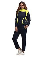 abordables -Femme Pullover Cordon Survêtement - Noir, Bleu Des sports Bloc de Couleur Sweat à capuche / Pantalon / Surpantalon Course / Running, Faire des exercices Manches Longues Tenues de Sport Garder au chaud