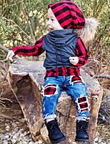 Недорогие -Дети / Дети (1-4 лет) Мальчики Активный / Классический Повседневные / Спорт В клетку Пэчворк Длинный рукав Обычный Хлопок / Полиэстер / Спандекс Набор одежды Красный 100