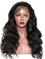 Недорогие -человеческие волосы Remy Полностью ленточные Лента спереди Парик Бразильские волосы Естественные кудри Черный Парик Ассиметричная стрижка 130% 150% 180% Плотность волос Женский Sexy Lady