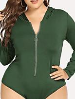 Недорогие -женская свободная футболка - сплошной цвет с капюшоном