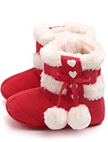 Недорогие -Девочки Обувь Синтетика Зима Обувь для малышей / Меховая подкладка Ботинки Пом пом для Дети Красный / Розовый / Миндальный