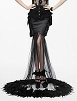baratos -Fantasias Cisne Negro Góticas Steampunk Ocasiões Especiais Mulheres Vestidos Baile de Máscara Preto Vintage Cosplay Elastano Algodão Longo