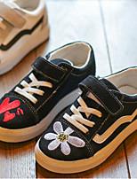 Недорогие -Девочки Обувь Искусственная кожа Весна & осень Удобная обувь Кеды Цветы / На липучках для Дети / Для подростков Белый / Черный