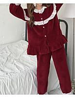 abordables -Col Arrondi Costumes Pyjamas Femme Jacquard