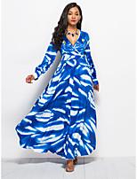 baratos -Mulheres Moda de Rua Calças Estampado Azul / Longo / Decote em V Profundo / Super Sexy