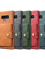 Недорогие -Кейс для Назначение SSamsung Galaxy Note 9 Кошелек / Бумажник для карт / Защита от удара Кейс на заднюю панель Однотонный Твердый Кожа PU для Note 9