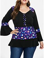 baratos -Mulheres Camiseta Moda de Rua Geométrica
