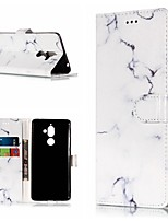 billiga -fodral Till Nokia Nokia 7 Plus / Nokia 6 2018 Plånbok / Korthållare / med stativ Fodral Marmor Hårt PU läder för Nokia 7 Plus / Nokia 6 2018 / Nokia 1