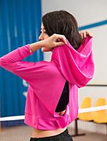 baratos -BIGTREE Mulheres Fenda Yoga Top Esportes Côr Sólida Blusas Para Ioga, Corrida, Fitness Roupas Esportivas Leve, Secagem Rápida Com Stretch Fúcsia / Violeta / Cinzento / Inverno