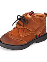 Недорогие -Девочки Обувь Свиная кожа Весна & осень Модная обувь / Армейские ботинки Ботинки На липучках для Дети Черный / Коричневый / Красный