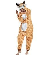 baratos -Adulto Pijamas Kigurumi Girafa Pijamas Macacão Flanela Laranja Cosplay Para Homens e Mulheres Pijamas Animais desenho animado Festival / Celebração Fantasias