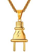 Недорогие -Муж. Классический Ожерелья с подвесками - Нержавеющая сталь Штепсель Мода Золотой, Черный, Серебряный 55 cm Ожерелье Бижутерия 1шт Назначение Подарок, Повседневные