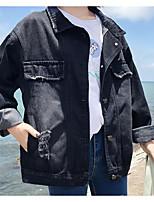 Недорогие -Жен. Повседневные Уличный стиль Обычная Джинсовая куртка, Однотонный Отложной Длинный рукав Полиэстер Аппликация Черный M / L / XL