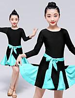 abordables -Danse latine Robes / justaucorps Femme / Fille Entraînement / Utilisation Elasthanne / caoutchouc Plissé Manches Longues Collant / Combinaison / Robe
