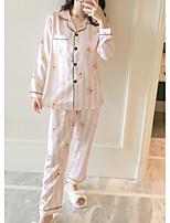 abordables -Col de Chemise Costumes Pyjamas Femme Géométrique