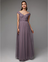 baratos -Linha A Decote V Longo Chiffon / Tule Evento Formal Vestido com Cruzado / Pregas de TS Couture®