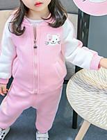 Недорогие -Дети Девочки Классический Повседневные Однотонный Длинный рукав Обычный Обычная Хлопок / Полиэстер Набор одежды Розовый