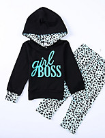 Недорогие -Дети Девочки Активный Леопард Длинный рукав Полиэстер Набор одежды Синий 100