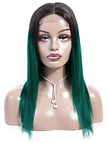Недорогие -Натуральные волосы Лента спереди Парик Бразильские волосы Прямой Парик Стрижка боб 130% Плотность волос Лучшее качество Новое поступление Горячая распродажа Жен. Средняя длина