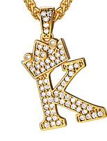 abordables -Homme Zircon cubique Logo Pendentif de collier - Forme de Lettres initial Or 55 cm Colliers Tendance Bijoux 1pc Pour Cadeau, Quotidien