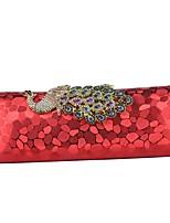 Недорогие -Жен. Мешки PU Вечерняя сумочка Кристаллы Животное Серебряный / Красный / Кофейный