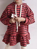 Недорогие -Дети (1-4 лет) Девочки Активный Повседневные Однотонный / Полоски Длинный рукав Выше колена Полиэстер Платье Красный 100