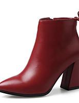 Недорогие -Жен. Наппа Leather Осень Милая / Минимализм Ботинки На толстом каблуке Заостренный носок Ботинки Бант Черный / Желтый / Винный