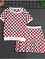 Недорогие -Дети Девочки Классический Повседневные Шахматка Длинный рукав Обычный Обычная Хлопок / Полиэстер Набор одежды Красный 150