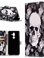 Недорогие -Кейс для Назначение Nokia Nokia 7 Plus / Nokia 6 2018 Кошелек / Бумажник для карт / со стендом Чехол Черепа Твердый Кожа PU для Nokia 7 Plus / Nokia 6 2018 / Nokia 1
