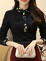 Недорогие -женская футболка - цветной блок / цветочная шея экипажа
