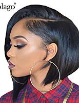 Недорогие -Натуральные волосы 6x13 Тип замка Фронтальная часть Лента спереди Парик Бразильские волосы Прямой Шелковисто-прямые Парик Стрижка боб Короткий Боб Глубокое разделение 150% Плотность волос