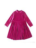 Недорогие -Дети Девочки Милая Повседневные Однотонный Длинный рукав Средней длины Полиэстер / Спандекс Платье Красный 140