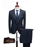 billiga -Enfärgad Skräddarsydd passform Polyester Kostym - Trubbig Singelknäppt 1 Knapp