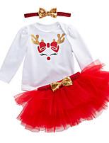 billiga -Bebis Flickor Aktiv Dagligen Tryck Långärmad Normal Polyester Klädesset Grön 59 / Småbarn