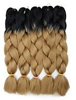 Недорогие -Волосы для кос Кудрявый Синтетические экстензии Искусственные волосы 5 предметов косы волос Коричневый 24 дюймовый 60 см синтетический / Градиент / Горячая распродажа